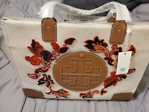 Tory Burch Ella Fil Coupe Embroidered Tote (Large, Mountain Paisley)