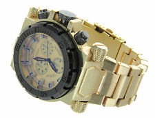Mens Oversize Watch Montres Carlo MC40315 Gold Bracelet Band Water Resistant