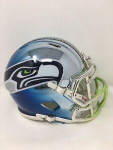 Seahawks custom three tone CHROME  riddell speed mini helmet
