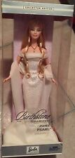 June Pearl Birthstone Barbie Doll Happy Birthday Nrfb Collector Blonde Gown 2002