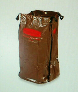 Rubbermaid 6166-88 Brown Vinyl Replacement Bags for Housekeeping Cart 2 Ea S4256