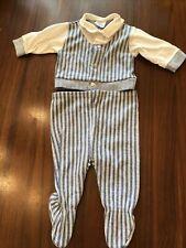 Vtg Baby Bliss Brand Boy Clothing Set 2 Piece Blue Striped Collar Footie Sz Sm