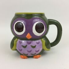 New listing Cute Baby Purple Green Owl Owlette Figural Shaped Hand Painted Coffee Tea Mug