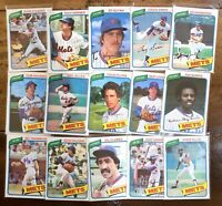 15) DIFFERENT 1980 Topps New York Mets Baseball Card LOT