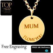personalisiert discpendant graviert Name Halskette vergoldet Geschenk Mutter