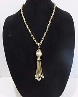 Park Lane Faux Baroque Pearl Pendant Tassel Necklace, 23 Inches Used no Box