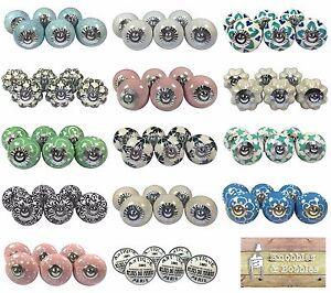 Ceramic knobs in sets of 6. Cupboard door knobs, drawer pulls.