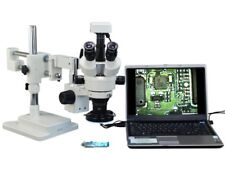 OMAX 2.1X-90X 3MP Trinocular Dual-Bar Boom Zoom Stereo Microscope for Soldering