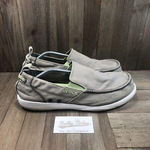 Crocs Walu Slip-On Canvas Loafers (11270) Casual Shoe Beige/Green Mens Size 13