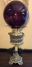 Antique Parker Brass Banquet Oil Lamp Electrified 26�