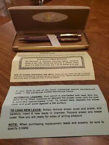 Vtg Centennial Ballpoint Pen & Pencil Set Maroon Matte Tan Box USA RAC SAFETY RP