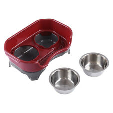 Pet Dog & Cat Feeder Deluxe Mess Proof Elevated Dish With Two Stainless Bowl Us