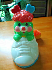 1980s Ceramic Piggy Bank Green Popple Figure in White Shoe with Stopper