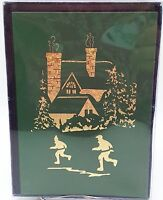 Winter Skaters Christmas Holiday Sparkling Glitter Cards 12ct New