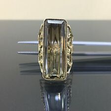 Antique 14k Yellow gold Natural Bi Color Smokey Topaz Victorian Solitaire Ring