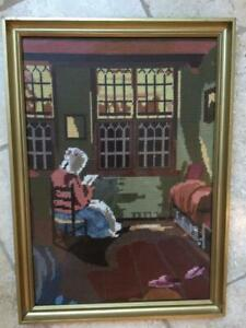 VINTAGE Hand Embroidered Tapestry 'Reading Woman' by Pieter Elinga