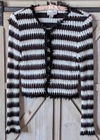 $142 Ribkoff Black & White Striped Cardigan Sweater Faux Fur US 8 Sequin Trim