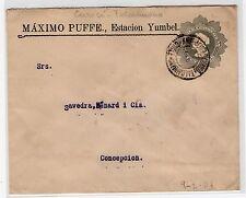 Chile 1910 TPO train railway cancellation Curico i Talcahuano on stationery
