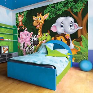 Vlies Tapete Fototapete  Kinder Tiere Elefant Zebra ZOO Dschungel Kinderzimmer