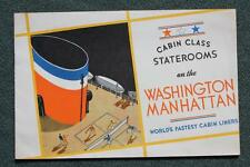 UNITED STATES LINES SS WASHINGTON MANHATTAN ART DECO CABIN CL STATEROOM GUIDE