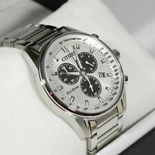 Citizen Eco-Drive Chronograph White Dial Stainless Steel Men's Watch AT2390-82A