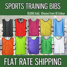 FOOTBALL TRAINING BIBS Vests Soccer Rugby Basketball Sports Cricket Netball