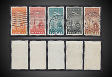 1934 DENMARK AIR POST COMPLETE ISSUE USED SCT. C6 - C10 MI. 217 - 221