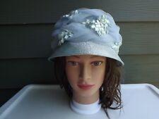 1960's Vintage Designer Womens Blue Hat with Straw Embelishemnt