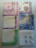 VINTAGE HANDKERCHIEFS LOT OF 6 - LOVELY MULTI-COLORED PATTERNS & ACCENTS