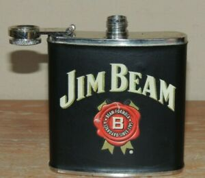 Jim Beam Black Bourbon Whiskey Black Leather Wrapped Stainless Steel Flask 6 oz