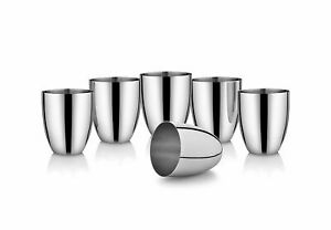 Steel Glass Set- 6 Pieces (310ml), Silver Stainless