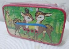 VINTAGE BAMBI DISNEY PAPER ACCORDION SQUEEZE BOX MUSICAL TOY RED CHINA 1950's