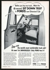 1953 FORD Trucks Vintage Original Print AD - Sit down test in Driverized Cab USA