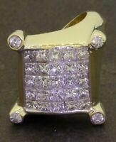 Heavy 18K gold 2.70CTW VS1/F Princess diamond cluster cocktail ring size 6.75