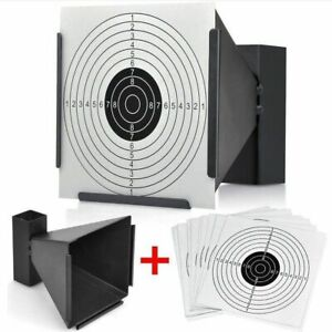 14cm Card Funnel Target Holder Pellet Trap + 100 Targets For Air Rifle/Airsoft