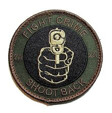 FIGHT CRIME SHOOT BACK 2ND AMENDMENT 2A STAND GROUND FOREST VELCRO® BRAND PATCH
