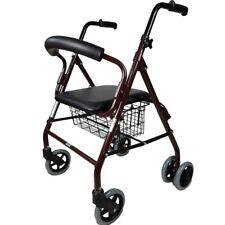 Andador ancianos 4 ruedas Frenos por Presión Aluminio Ultraligero Regulable