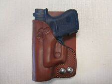 Fits Glock 26,27,33 formed BROWN leather wallet & pocket holster right hand