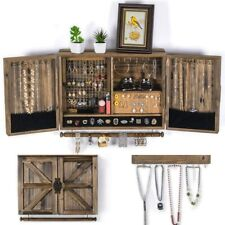Wall Hanging Jewelry Organizer Rustic| Wall Mounted Mesh Jewelry Holder