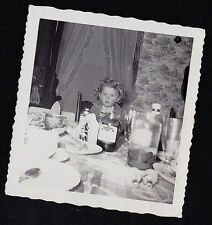 Vintage Antique Photograph Adorable Little Girl Sitting At Table in Retro Room