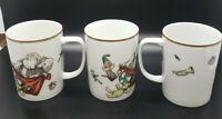 FITZ & FLOYD VARIATIONS 1981 Santa Claus  Christmas 6oz Coffee Mug Cups Lot of 3