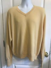 CLUB ROOM/CHARTER CLUB Mens SWEATER Yellow Cashmere V-Neck Long Sleeve Size L