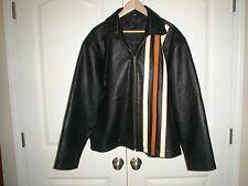 GEEK SQUAD  Black Leather Motorcycle Jacket (Geek Squad Logo) Size Large NWOT