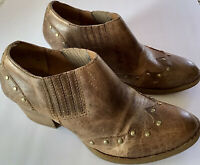 BORN WOMENS LEATHER ANKLE BOOTIES,TACKS DETAIL,SIZE 91/2 M  COLOR  BROWN
