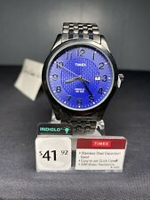 Timex Men's Elevated Classic Blue Textured Dial Date Indiglo Dress Watch T2P203