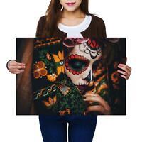 A2 | Calavera Catrina Face Skull Lady Size A2 Poster Print Photo Art Gift #3159