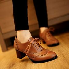 Womens Lace Up Brogue Carved Wing Tip Oxford Block Chunky Heels Shoes Work Size