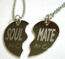 SPLIT HEART NECKLACE SOUL MATE, SOLID STAINLESS STEEL PENDANT NECKLACE PAIR SET