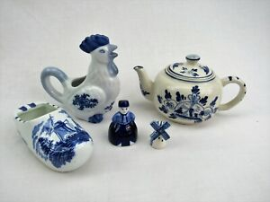 Vintage Delft Blue and white collection lot pitcher ashtray teapot bell windmill