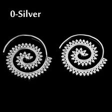 2017 Vintage Lady Circles Round Spiral Brass Tribal Hoop Earrings Jewelry Silver